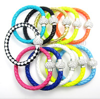 Wholesale 50Pcs Hot PU Leather Bracelet Disco Ball Crystal Shamballa Magnetic Clasp Bracelet