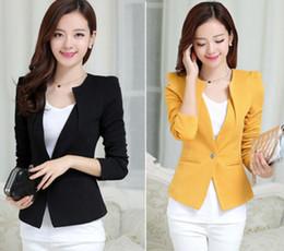 Wholesale New Women Slim One Button Short Blazer Suit Jacket Coat Long Sleeve Black White Yellow