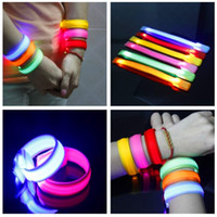 Wholesale Outdoor Sports Safety Night Activity Party Cheer Nylon Band Transparent LED Flashing Arm Band Wrist Strap Armband