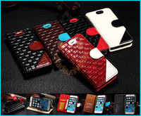 Wholesale High quality leather Case For iPhone Braided Inches hit the color scratch bit dual card holder photo frame protective sleeve Fashion f