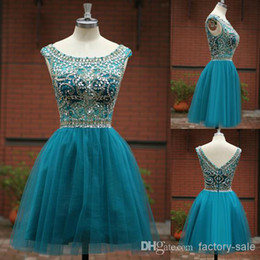 Wholesale 2015 Sexy Short Crystals Cocktail Dresses A Line Scoop Neck Beaded Top Real Images Short Prom Graduation Gown SU05