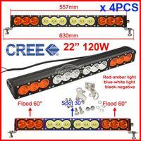 "Cheap 4PCS 22"" 120W CREE LED Driving Work Light Bar Offroad SUV ATV 4WD 4x4 Spot Flood Combo Beam 10200lm 9-70V Clear Amber Lens JEEP Wagon"