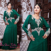 Cheap Long sleeve Muslim evening dresses with Arabic Dubai Abaya Jewel Beaded green Chiffon Full Length Dubai Kaftan Islamic Formal Dresses