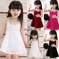 Wholesale New Summer Y Y Kids Girls Children Clothing Princess Sleeveless Lace Sequins Lapel Vest Collar Tutu Dress SV000883