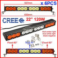 "Cheap 6PCS 22"" 120W CREE LED Driving Work Light Bar Offroad SUV ATV 4WD 4x4 Spot Flood Combo Beam 10200lm 9-70V Clear Amber Lens JEEP Wagon"