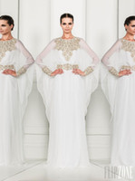 Cheap Arabic Dubai ABAYA KAFTAN White Arrival Zuhair Murad Muslim Dress Poet Long Sleeves With Beaded Chiffon Formal Gowns Evening Dresses BO3486