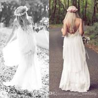 Cheap Romantic White 2014 Boho Cheap Spaghetti Lace Wedding Ball Dresses Bohemian Vintage Beach Sexy Long Party Bridal Gowns Dress Simple Chiffon