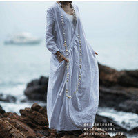 Wholesale 2014 Original Design Women Dress Linen Cotton Women Dress White Coat Loose Long Dress Zen soul Summer Autumn Spring