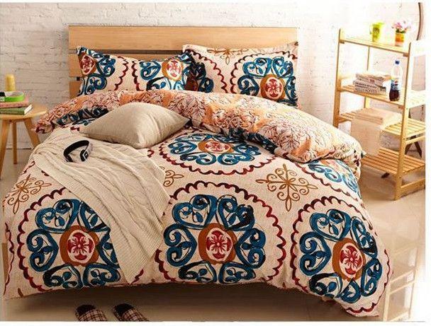 Yellow Blue Vintage Bedding Comforter Set King Queen Size Duvet ...