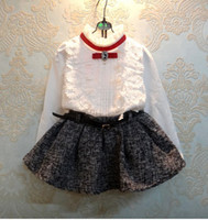 Wholesale Autumn Girls Thicken Sets Royal Cotton Long Sleeve Bowknot Lace Shirts Pleated Skirt Girl Outfits Children Clothing White K1176