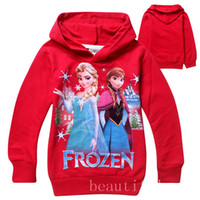Cheap 14 Color Frozen Baby 2-8Yrs Elsa Anna Princess Olaf Hoodie Long Sleeve Terry Hooded Jumper Cartoon Hoodies Outerwear Kids Clothing