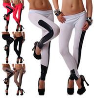 Cheap 2014 New women sport leggings pants sexy fashion imitation leather patchwork gym leggings for women leggins jeggings clothes [CW07121*1]