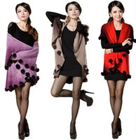Wholesale 2014 new winter cashmere wool cape coat knitted rabbit fur ball really big shawl knit cardigan women
