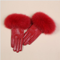Wholesale 2014 New Ladies sheepskin Leather Fashion Wrist Gloves K912C