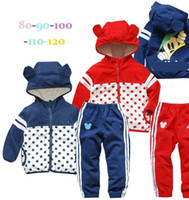 Unisex Spring / Autumn Long 5 sets lot New Spring Autumn boys girls Hoodies Zip jackets + pants sports suit coats trousers set children kids clothes clothing blue red