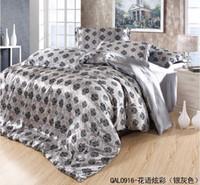 Wholesale Luxury grey floral mulberry silk bedding comforter set queen king size duvet cover bedspread bed in a bag sheet bedsheet quilt bedroom