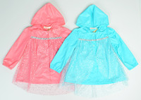 Wholesale 5pcs Princess Raincoat Jacket Fashion Baby Girls Clothes Snow Queen Elsa Blue pink Gauze Coat Princess Elsa Anna Children Girls FZ151