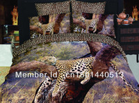 Cheap Free FedexPanthers Animal Leopard oil painting bedding set 3d 4pcs bedsheets cotton duvet quilt cover luxury bed linen sets queen size