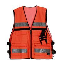 Wholesale Reflective vest Side waist buckle vest Many sports pocket safety protective clothing