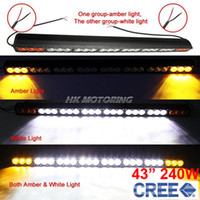 """Cheap 43"""" 240W CREE 24-LED Driving Work Light Bar Offroad SUV ATV 4WD 4x4 Spot Flood Combo Beam 24000lm 9-70V Clear Amber Lens JEEP Wagon"""