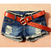 Cheap Women Retro Denim Turnup Jeans Shorts Ripped Flange Hole Washed Shorts Pants New 2014 Hot Selling