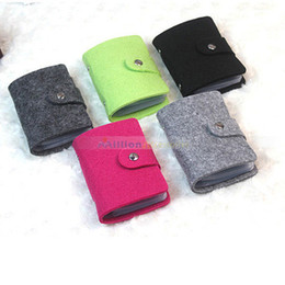Wholesale-Hot Sale Vintage Fsshion Wool Felt ID Credit Card Holder Pouch Wallet Purse Pocket Handbag up to 24 Cards for Women