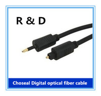 Cheap Choseal Digital optical fiber cable 3.5 the SPDIF party turn circular mouth audio power amplifier audio cables 1 meter