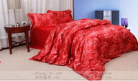 Wholesale Red rose flower mulberry silk bedding comforter set queen king size duvet cover bedspread bed in a bag sheet designer bedroom quilt linen