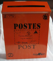 Wholesale Rustic iron mail Mailbox fashion vintage tin newspaper boxes mail box post box Orange color