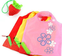 Wholesale new Shopping Bags STRAWBERRY ECO FOLDABLE REUSABLE SHOPPING STORAGE GROCERY TOTE BAG NEW
