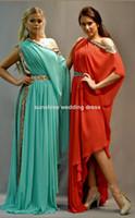 Cheap 2014 Custom Made All Color Sequin Beading A Line Scoop Abaya Kaftan Dubai Muslim Evening Dress Half Sleeve High Low