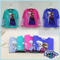 Wholesale 2014 fall long sleeve Frozen t shirt princess girls frozen dresses shirt fashion Korea style heat transfer printing girls shirt with sparkle