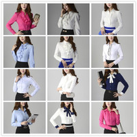 Wholesale New Fashion women clothing blouses shirt casual Ladies long sleeve Slim work wear business wear