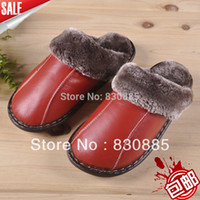 Wholesale Direct Selling Top Fashion Medium b m House Slippers Cowhide Skin Cotton padded At Home Floor Slippers Male Female Winter