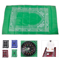 Wholesale Pocket Portable Travel Prayer Mat Rug With Mat Islamic Qibla Finder With Compass Attached
