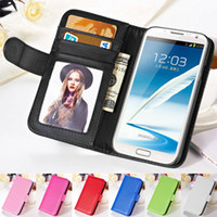 Wholesale Wallet Style Photo Frame Soft PU Leather Case For Samsung Galaxy Note N7100 Phone Bag Plastic Cover With Stand Card Holder BOB