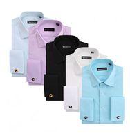 Men Long Sleeve Cotton Blend Men Business dress shirt Twill slim Fit long sleeves polo camisa shirts French Cufflinks FS06 white XS S M L XL XXL XXXL Free shipping