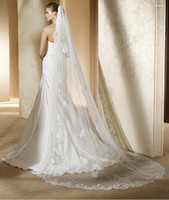 Lace Edge Cathedral 3 Meters One- Layer Long Bridal Veil Head...