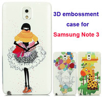 Cheap 3D case for Samsung Galaxy Note3 embossment case for samsung N9005 N9006 3D cover for samsung Note 3  Free shipping