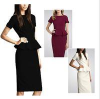Wholesale Fashion Casual Summer Women Celebrity Style O neck Short Sleeve Shift Party Cocktil Midi Dresses size S M L XL