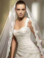 Classy Cathedral 3 Meters Lace Edge One- Layer Long Bridal Ve...