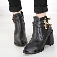 Wholesale New chunky heel black leather knight boots with buckle cowboy boots women winter boots top PU size to