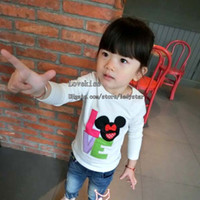 Cheap Long Sleeve T Shirt Korean Girl Dress Children T Shirts Child Minnie Mouse White Shirt Children Clothes Kids Clothing Autumn White T Shirts