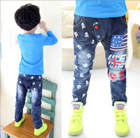 authentic denim jeans - to years Offset printing skulls jeans children boy authentic elasticity jeans NANTONGQ037