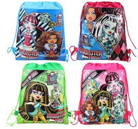 Wholesale Fashion Cartoon Children s Girl s Backpack Monster High Drawstring Bag For Child School Bags Waterproof Camping Casual Bags A913