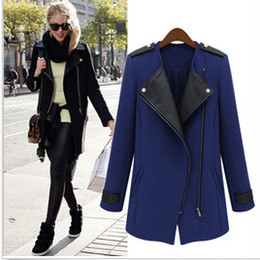 Wholesale Autumn Black Womens WOOL Synthetic Leather Long Coat Jacket Trench Parka Outwear Winter Long Sleeve PU Blue Zipper Patchwork S XL Blazer