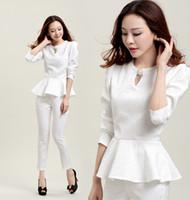 Wholesale 2014 Autumn New Women Clothing Ruffles Stain Shirt Long Pants Fashion Elegant OL Working Suit Sets Black White ecc2111