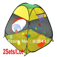 Cheap 2Sets Lot Lovely Baby Kids Tent Hollow Basketball Frame Colorful Children's Toys Tents Play House Free Shipping 10362