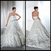 demetrios wedding dress - 2015 New Arrival Sweetheart Demetrios Wedding Dresses A Line White Organza With Ruffle Bridal Gowns