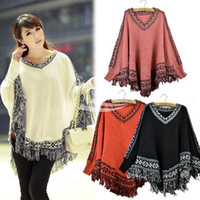 Wholesale Women Batwing Sleeve Tassels Hem Style Cloak Cape Tops Knitted Poncho Sweater pullover Coat Shawl Colors